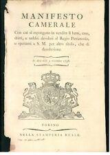 MANIFESTO CAMERALE 1798 VENDITA BENI CASE DEVOLUTI REGIO PATRIMONIO CASA SAVOIA