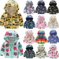 Kids Boys Girls Hooded Jacket Padded Warm Floral Windproof Coat Outwear Clothes