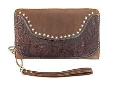 Montana West Ladies Zippered Wristlet Wallet Tooled Genuine Leather Coffee