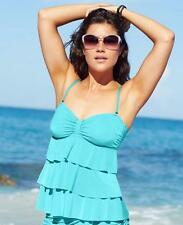 Kenneth Cole Medium Solid Lagoon Blue Bandeau Tiered Tankini Swimsuit Top M NWT