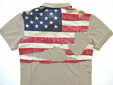 Ralph Lauren Denim and Supply Army Khaki Destroyed Flag Polo Shirt Ultra slim M