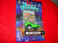 MUSCLE MACHINES CO2-21 '69 CHEVELLE GREEN CARTOONS MIP FREE USA SHIPPING