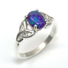 Trinity Knot Ring 1ct Oval Supernova Cultured Opal Sterling Silver (OP52)