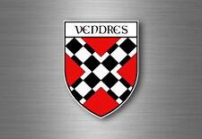 Sticker decal souvenir car coat of arms shield crest city france flag vendres