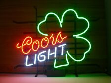 "New  Coors Light Shamrock Beer Clover Neon Sign 17""x14"""