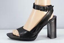 BALLY - PRINCESS Black Leather High Heel / Platform Sandals Sz 6.5 (EU 37 )