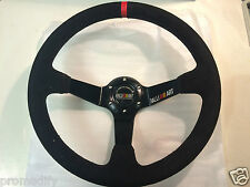 Universal Ralliart Style 350mm Suede Deep Steering Wheel Red Stitch EVO 6 7 8 9