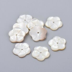 2Pcs Natural White Mother of Pearl Flower Shell Beads Jewelry Making Crafts 14mm