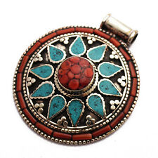 Coral Turquoise Pendant Tibetan Nepalese Handmade Tibet Nepal By Eksha UP1058