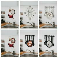 MODERN CUTLERY RETRO CHEF WALL CLOCK FORK SPOON KITCHEN UTENSIL HOME SHOP PUB