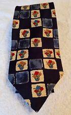 "Blue Tie with pots of flowers in squares 58"" x 3.50"" Berkertex 100% Silk"
