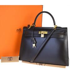 AUTHENTIC HERMES KELLY 35 HAND BAG BOX CALF EBENE LEATHER □ D VINTAGE 196R174