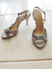 Shoes Vint Authentic Fendi Grey Satin Peep-Toe Sling Sandals Size 9.5 /40 (Cc)