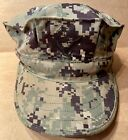 US NAVY CAP WORKING TYPE III WOODLAND DIGITAL CAMO HAT with ACE, SIZE 7 1/2 7.5