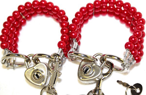 Red Pearl  Bondage Wrist cuffs set restraint high tensile steel  with locks