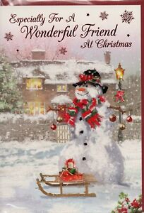 Friend Christmas Card Choice Of Traditional Designs Size 20 x 14cm