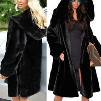 Womens Fluffy Plus Size Coats Casual Warm Winter Hooded Faux Fur Outwear Jacket