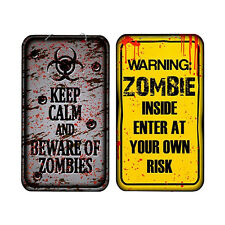 Halloween Party Wall Zombie Warning Hanging Plaque Signs