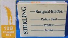 STERLING #12B Sterile Surgical Dental Blades Scalpels Carbon Steel 100/BX New