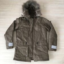 Alpha Industries Brown Waxed Parka Weather Faux Fur Hood Mens Size Small