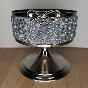 Bath & Body Works Silver Bow Candle Sleeve Holder Pedestal Rhinestones Pearls