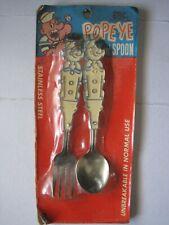 Vintage Popeye Spoon Fork Set Stainless Steel Arrow Plastic Co. Unopened Package