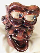 TOM PHELPS FACE ART Pottery Hand Made STONEWARE Ugly Face Toothy Mug Signed Lara