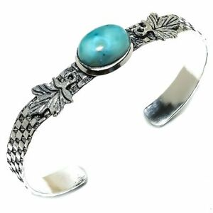 Caribbean Larimar Gemstone Handmade 925 Sterling Silver Cuff Bracelet Adjustable