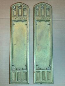 Solid Brass Architectural Door Hardware, Push Plate Victorian Gothic