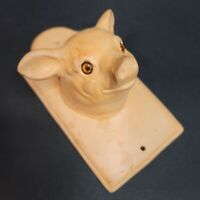 Vintage Ceramic Pig Decorative Mounted Wall Hook Farmhouse Rustic Peach Pink