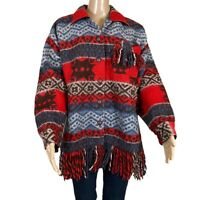 HYPE Jacket Wool Blanket Style Button Front Fringe Hemline Pocket