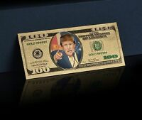 <COLORIZED DETAIL>DONALD TRUMP  COIN W/CASE + $100 TRUMP Banknote~Both MINT UNC.