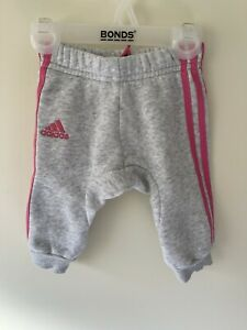 Adidas Baby Track Pants Grey Pink Size 0-3 Months
