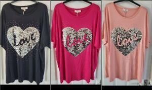 Ladies Italian Sequin Heart Top Women's One Size T- Shirt Lagenlook Tops New