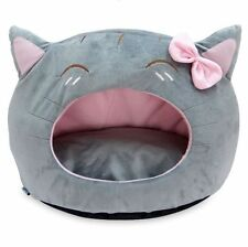 New Cute Cat Head Shape Pet Dog Cat Tent House Bed Puppy White/Black/Grey/Brown