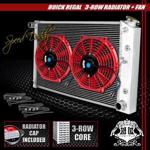 "TRI CORE ALUMINUM RACING 3-ROW RADIATOR+ 2 X 10"" RED FANS CENTURY/CHEVY CAMARO"