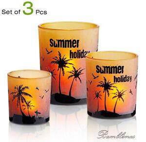 HOMMAX Glass Candle Holder, Set of 3 pcs Summer Holiday Sunset & Beach Tea-Light