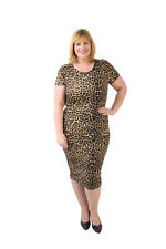 New Womens Plus Size Leopard Print Short Sleeve Fitted Midi Casual Bodycon Dress