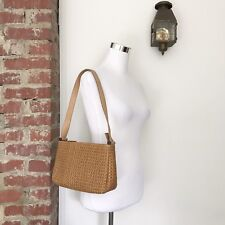 Fossil Brown Woven Shoulder Hand Bag Zipper Close Purse 75082 Divided Lined