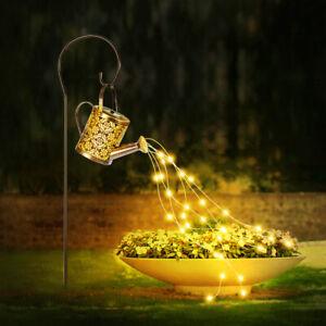 LED Solar Licht Gießkanne Star Shower Garten Lichterkette Außen Wasserfall Dekor