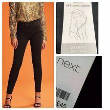 NEXT Size 16 P Black LIFT SLIM&SHAPE SKINNY HIGH RISE STRETCH JEANS Trouser NEW
