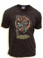 Classic Marvel ComicThe Amazing Spiderman Circle Black Wash Adult T-Shirt Tee