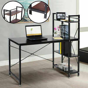 Modern Computer Desk With 4-Tier Shelves PC Workstation Study Table Home Office