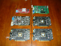 AS IS Lot of 6 Video Cards PCI AGP PCIe Parts Repair ATI Nvidia