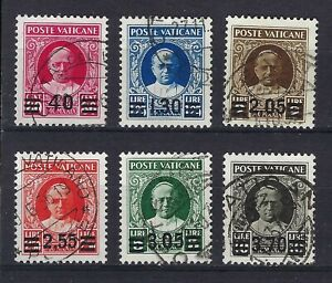 Vatican City 1934 Pope Pius XI Surcharged Complete Set Cancelled CV £1500 - Rare