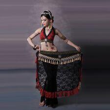 Tribal Belly Dance Costume 3 Pics Lace Bra Blouse & Hip Scarf Belt Skirt & Pants