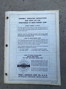 "Sears Craftsman 12"" Radial Arm Saw Manual No.113.29520 PAPER COPY!"