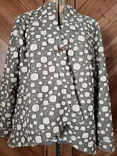 Focus Boho Asymmetrical Gray White Polka Dotted Jacket Blazer M Medium