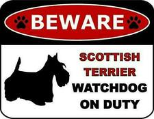 Beware Scottish Terrier Watchdog On Duty Dog Sign Sp1346