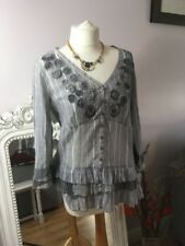 M&S Per Una grey StripE Floaty Boho Long sleeved blouse Uk 12  beautiful detail